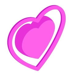 Pink heart icon isometric 3d style vector