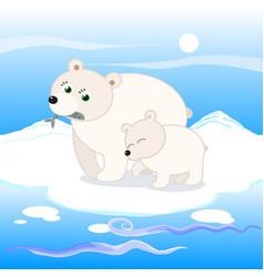 polar bear family vector image