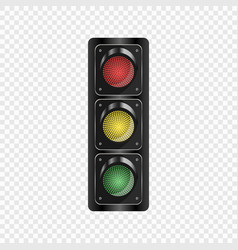 realistic traffic lights isolated background vector image