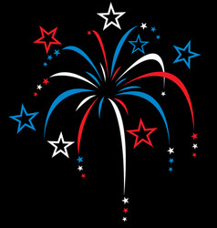 Red white and blue stylized fireworks vector