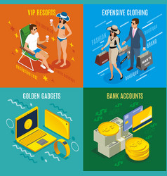 Rich people isometric design concept vector
