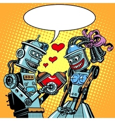 Robots man woman love Valentines day and wedding vector