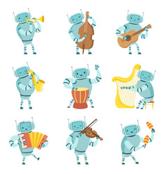 robots musicians playing musical instruments set vector image