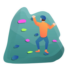 rock climbing wall icon cartoon style vector image