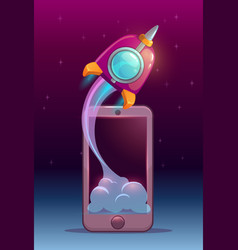 Rocket launch from mobile phone screen vector