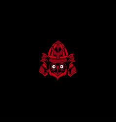 samurai owl mascot logo vector image