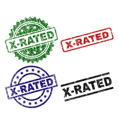 Scratched textured x-rated stamp seals vector