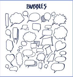 set hand drawn bubbles vector image