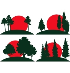 Set landscapes with trees and risisng sun vector