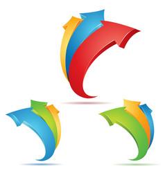 set multicolored 3d arrows vector image