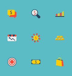 set of commerce icons flat style symbols with gold vector image