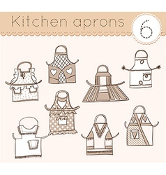 set of kitchen aprons 6 vector image