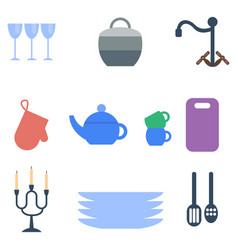 Set of kitchen utensils food kitchenware cooking vector
