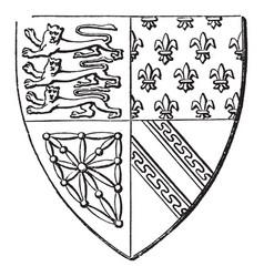 Shield of queen isabella borne by isabella vector
