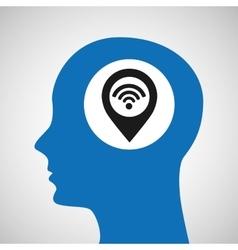 Silhouette head location wifi icon vector