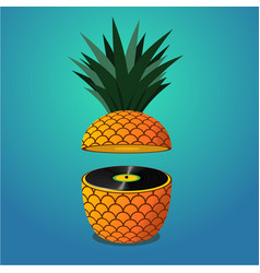 Summer music party with pineapple vector