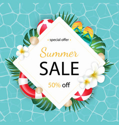 summer sale background with tropical palm and vector image