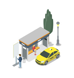 taxi stop isometric 3d icon vector image