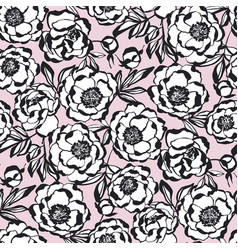 Tender elegant paris style peony flower pattern vector