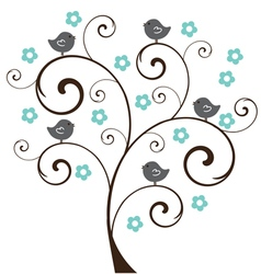Tree floral birds vector