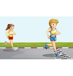 Two girls racing vector