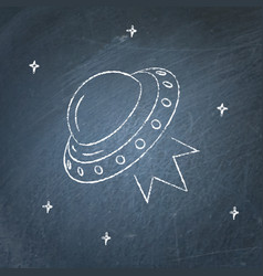 ufo spaceship icon on chalkboard vector image