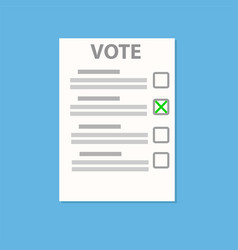vote check paper list on blue with shadow stock vector image