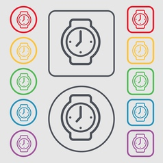watches icon sign symbol on the Round and square vector image