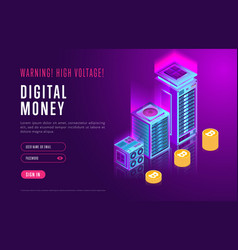 Webpage design with cryptocurrency elements vector