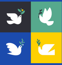 white pigeon with olive branch icon or logo set vector image