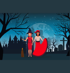 women couple wearing witch pirate costume happy vector image