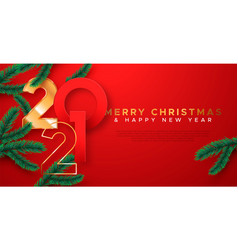 year 2021 red gold 3d pine tree card vector image