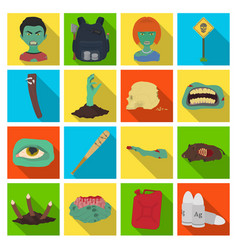 Zombies man terrible and other web icon in flat vector