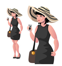 happy elegant lady with hat isolated vector image vector image