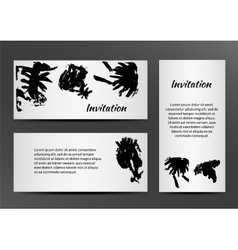 Invitation with inkblots on white background vector image vector image