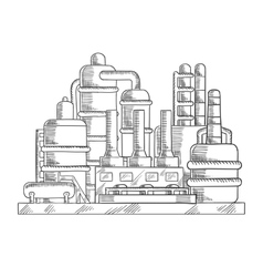 Oil refinery factory in sketch style vector image vector image