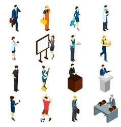 Professional People Work Isometric icons Set vector image vector image