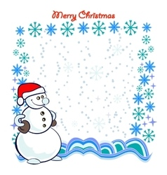 Snowman with Frame Composed of Snowflakes vector image