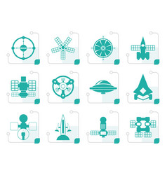 stylized different kinds of future spacecraft icon vector image vector image