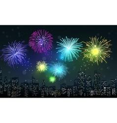 Fireworks on city night scene vector image vector image