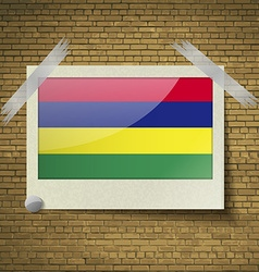 Flags Mauritius at frame on a brick background vector image vector image