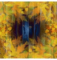 Grunge background with autumn leaves vector image vector image