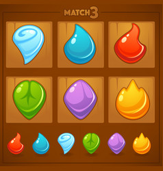match 3 mobile game games objects earth water vector image vector image