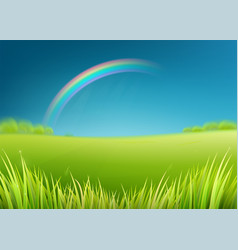 summer meadow field with rainbow after rain vector image