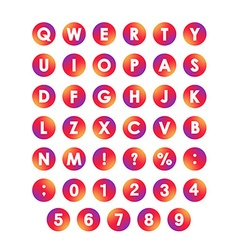 Alphabet Font in circles Type letters and numbers vector image vector image