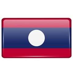 Flags Laos in the form of a magnet on refrigerator vector image vector image