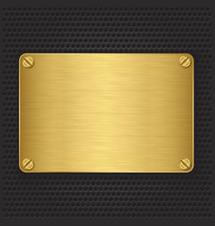 Golden texture plate with screws vector image vector image