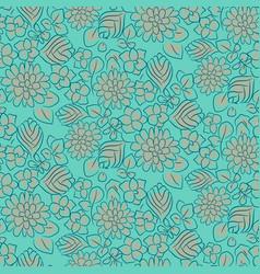 handdrawn flower dense turquoise line seamless vector image vector image