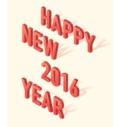 Happy New 2016 Year 3d Isometric element vector image vector image