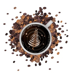 Hot Coffee with Latte Art in Fern Leaf vector image vector image